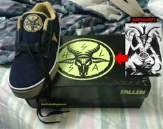 """SHOCKING!!! ... ... Baphomet head shoes  Skateboarding shoes for teens - WHAT NOT TO BUY FOR YOUR TEENS!  5/25/14 NowTheEndBegins reports that the 'Fallen Footwear' company is marketing skateboarding shoes called """"Deathwish"""" to young teens which feature a satanic symbol — the Baphomet goat's head on the top of the shoe and in the inside bottom. dcclothesline.com"""