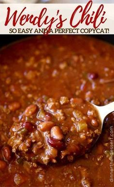 Wendy's Chili (Copycat) - Dinner, then Dessert - An amazing Wendy's Chili Copycat! Informations About Wendy's Chili (Copycat) – Dinner, then De - Chilli Recipes, Bean Recipes, Mexican Food Recipes, Soup Recipes, Fondue Recipes, Recipies, Dinner Recipes, Muffin Recipes, Copycat Wendy's Chili