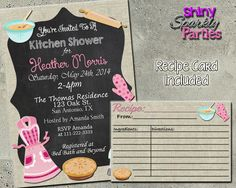Kitchen Shower Invitation - Bridal Shower Invitation With Matching Recipe Card Printable (Digital File Only) - Forever Fab Boutique - 1