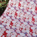 Nishijin silk brocade ROSE This fabric imaged the United States of America. The fabric is designed in the motif of the national flower of the United States of America. A color scheme which imaged the Stars and Stripes. #USA #silk #fabric #rose
