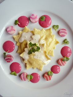 Zander-Yellow Beet Ravioli with Lemongrass-Coconut Foam, Butter sauteed Chioggia Beets and Beetroot-Vermouth Sabayon