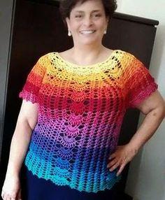 As Receitas de Crochê: Blusa Colorida Plus Size em crochê