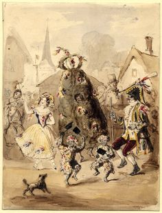 A Jack-in-the-Green procession in a village, with the Jack in the centre flanked by two figures, and two children dancing in the foreground. c.1840. © The Trustees of the British Museum