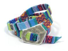 wrap ethnic turquoise fabric bracelet * tribal turquoise bracelet * aztec fabric bracelet * gift for mom * wrap fabric bracelet by CozyDetailz on Etsy