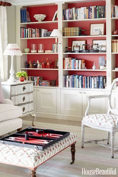 Chinoiserie Red Living Room bright white bookshelves and comfy chair Good Living Room Colors, Living Room Red, Living Room Paint, Living Room Modern, Living Room Furniture, Living Room Decor, White Bookshelves, Bookcase, Room Paint Colors