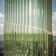 With its curved edges, angled tip and grooved green glass facade, the new skyscraper blends visual references to both Chinese bamboo shoots and the pleated columns of ancient Greece, according to the developer.