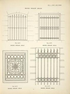 Bronze window grilles. Plates 448-N, 449-N, 450-N and 451-N.