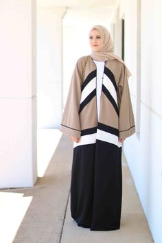 Colour block abaya as worn by Leena Asad. Dubai style abaya