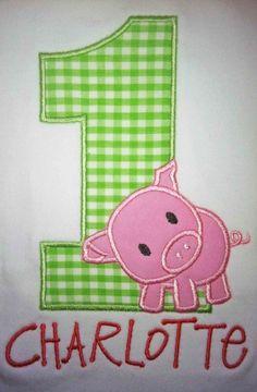 Pig Birthday Shirt or Onesie  Custom by OhSewSweetEmbroidery, $20.00