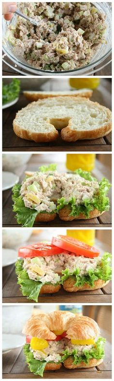 The Best Tuna Fish Sandwich INGREDIENTS: 2 – 7 oz. cans tuna packed in water, drained well 3 green onions, sliced {white and green parts} 1/4 cup chopped dill pickles 1 large celery stalk, ch…