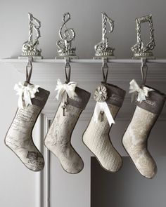 """I think these may be the winners! Love these for our familys first Christmas Stockings! French Laundry Home Joyeux Noel Christmas Stockings - Neiman Marcus"""" data-componentType=""""MODAL_PIN Noel French, French Christmas, Noel Christmas, Merry Little Christmas, All Things Christmas, White Christmas, Christmas Stockings, Christmas Ideas, Cottage Christmas"""