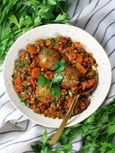 Moroccan Lentils with Turkey Meatballs Recipe & Image - Single Dish Lentils & Turkey Meatballs OT Turkey Meatballs Crockpot, Meatballs And Gravy, Lentil Recipes, Turkey Recipes, Turkey Balls Recipe Healthy, Moroccan Spices, Zone Recipes, Hearty Meal