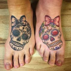 According to the artist, one sister preferred the blackwork version more and decided to go in that direction. Sugar skulls are a Mexican tradition—although introduced by Spanish missionaries—of making skulls out of sugar and then decorating them to celebrate the Day of the Dead holiday.