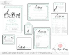 Zoo Wishes for Baby Card Baby Shower Games Baby Shower