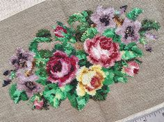 Items similar to Antique French Hand Beaded Petit Point Purse Panel Victorian Glass Micro-Beaded Roses & Platinium Taupe Needlework Cross Stitching - Exc Con on Etsy Vintage Textiles, Victorian Era, Cross Stitching, French Antiques, Cotton Linen, Needlework, Taupe, Glass Beads, Floral Design