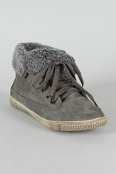 Cassey-1 Shearling Cuff Lace Up Sneaker Bootie