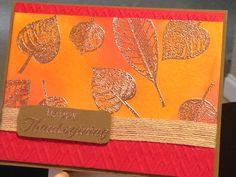 Thanksgiving Card - Stamps:  Stampin' Up Vintage Leaves, Hero Arts Celebrate Everyday Stampin' Up Burlap Trim - Versmark Ink - Stampin' Up Copper Embossing Powder - Stampin' Up Inks:  Real Read, Pumpkin Pie, Delightful Dijon - We R Memory Keepers Embossing Folder - Paper:  Strathmore Bristol Smooth 100lb, Stampin' Up Real Red, Stampin' Up Soft Suede - Inspiration:  http://stampandcreate.net/fall-theme-with-paper-craft-crew/