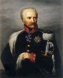 """Gebhard Leberecht von Blücher was a Prussian Generalfeldmarschall (field marshal) who led his army against Napoleon I at the Battle of the Nations at Leipzig in 1813 and at the Battle of Waterloo in 1815 with the Duke of Wellington. The honorary citizen of Berlin, Hamburg and Rostock bore the nickname """"Marschall Vorwärts"""" (""""Marshal Forwards"""") because of his approach to warfare."""