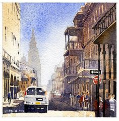 Chartres Street- New Orleans by Iain Stewart Watercolor ~ 6 x 6