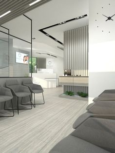 Commercial: the waiting area uses ergonomic chairs, mellow grey tones, and bright lights help keep the patients calm. Dental Office Design, Medical Design, Waiting Room Design, Waiting Area, Office Waiting Rooms, Far Side Comics, Office Pictures, Dental Facts, Esthetician Room