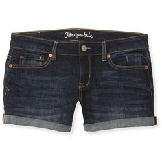 Aeropostale Dark Wash Midi Denim Shorts ($9.99) ❤ liked on Polyvore featuring shorts, short denim shorts, frayed shorts, long denim shorts, aeropostale shorts and slim shorts