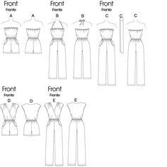 Vogue Patterns Sewing Pattern Misses' Empire-Waist Dresses Vogue Sewing Patterns, Mccalls Patterns, Clothing Patterns, Romper Pattern, Jumpsuit Pattern, Do It Yourself Fashion, Diy Couture, Sewing Class, Clothing Hacks