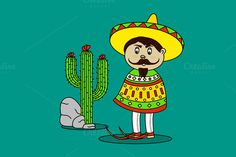Mexican Man Standing By A Cactus and by MarioMovement on Creative Market