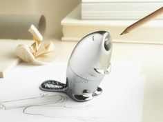chrome-plated Kastor pencil sharpener, designed by Rodrigo Torres for Alessi as part of their spring 2013 collection.