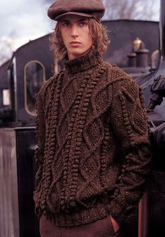 Kirby - This mens sweater knitted in Felted Tweed Aran with cable and bobble pattern, is a great addition to any winter wardrobe. Designed by Martin Storey