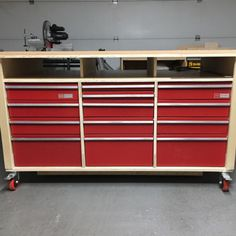 Workbench with Recycled Drawers