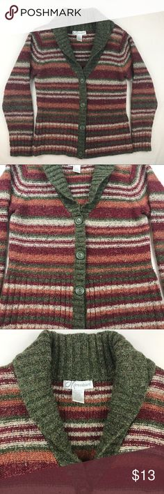Dressbarn Cardigan Vintage striped button up cardigan, shows signs of wear but still wearable and perfect for fall  *has some snags and pilling * Dress Barn Sweaters Cardigans
