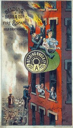 """Beld Brothers thread ad, late 19th century    Advertising card for Beld Brothers thread: """"Belding Bros. and Co. Fire Escape. Sold Everywhere."""" Advertising card by Gugler Lith Company, late 19th century. Missouri History Museum Photographs and Prints Collections. Advertising. n39446."""