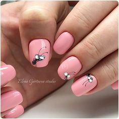 Pretty Clever Nail Designs and Colors - Nails 03 Cute Nail Art, Cute Nails, Pretty Nails, Hair And Nails, My Nails, Pink Nails, Smart Nails, Nail Drawing, Animal Nail Art