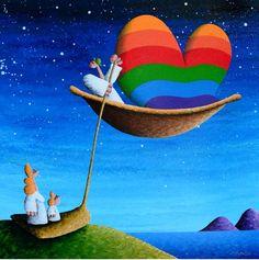 Coplu: Getting On Board Of Love , 2014, Acrylic on Canvas, 100 x 100 cm