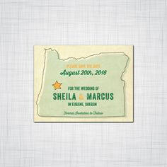 Vintage State Save the Date, Engagement Announcement, Wedding Announcement, Save the Date, State Vintage Postcard Style, Digital Letterpress