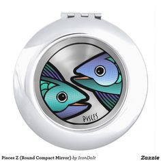 Colorful Sign of the #Zodiac - #Pisces - Sleek Round #Compact_Mirror features a stylish and colorful, original digital painting interpreting a classic sign of the Greek Zodiac: Pisces The Fish. (For those born between February 20 - March 20). By Leslie Sigal Javorek. See all of Leslie's Birth Sign products @ www.zazzle.com/icondoit/zodiac+gifts?rf=238155573613991097&tc=pnt