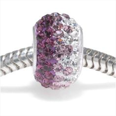 STERLING SILVER CRYSTAL PAVE LARGE HOLE EUROPEAN STYLE BEAD 12X75MM AMETHYST RAINBOW from beadaholique.com