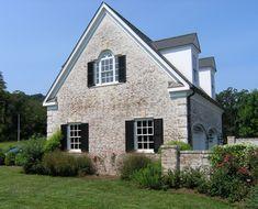 Limewashed brick exterior