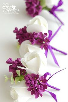 Corsage idea for mothers and grandmothers.  Sans purple.  Add blue hydrangea and ribbon.