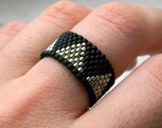 Size stylish womens ring Geometric peyote band ring Contemporary ring Modern seed bead jewelry Unique fashion ring Modern ring for women Seed Bead Jewelry, Beaded Jewelry, Handmade Jewelry, Unique Jewelry, Seed Beads, Trendy Jewelry, Modern Jewelry, Peyote Beading, Bead Jewelry