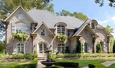 Chateau Lafayette House Plan # Front Elevation, French Country Style House Plans, Luxury House Plans / Like window boxes & materials French Country House Plans, French Country Style, French Country Exterior, French Style House, French Cottage, Country Farmhouse, Country Style Living Room, Tudor Cottage, Rustic French