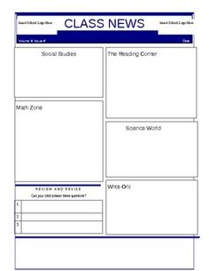 FREE - Easily adaptable template for a class weekly or daily newsletter. This could also be used for students to write 'their news' about learning in each subject.  Follow me for more freebies and great products coming soon
