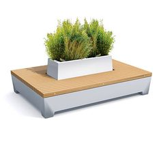urban furniture with wooden seat and planter