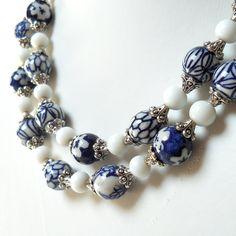 Delft blue necklace, blue and white, Delft blue jewelry, Delft, Holland, blue…