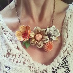 Floral Statement Necklace, Flower Collage Bib Necklace, Shabby Chic Orange, White, Vintage Enamel Flower Assemblage