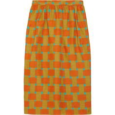 Jonathan Saunders Roselyn printed cotton-blend skirt ($260) ❤ liked on Polyvore featuring skirts, bottoms, юбки, bright orange, orange skirt, jonathan saunders skirt, geometric skirt, geometric print skirt and jonathan saunders
