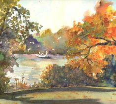 Hickory Grove, Original Watercolor, Louise O'Donnell