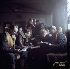 "Pilots of 306 (Polish) Squadron ""City of Torun"" learning English language at RAF Churchstanton, Somerset, England. January 1942.  The squadron was formed on 28 August 1940 at Church Fenton, and became operation on 8 September. The squadron moved to Northolt in the spring of 1941, and spent the next six months flying offensive sweeps over occupied France, part of the RAF's policy of 'leaning over the Channel'. During this period the squadron converted from the Hurricane to the Spitfire.  No 3"
