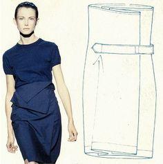 self-belted skirt, fall winter 1998, dries van noten