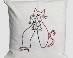 cats pillow / embroidered pillow cover / natural / by NIARMENA